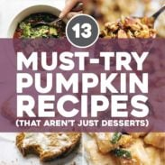 Pumpkin recipes in bowls and pans.
