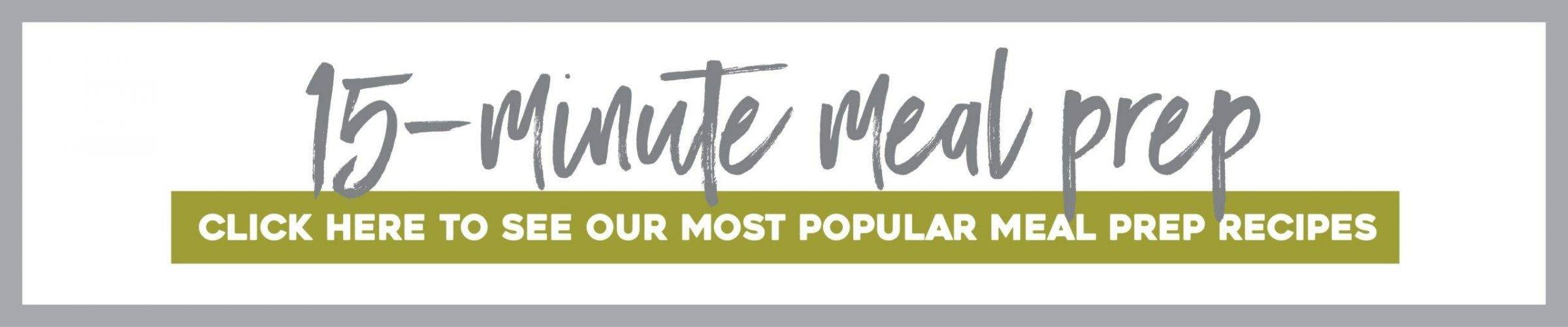 A banner advertising 15 Minute Meal Prep.