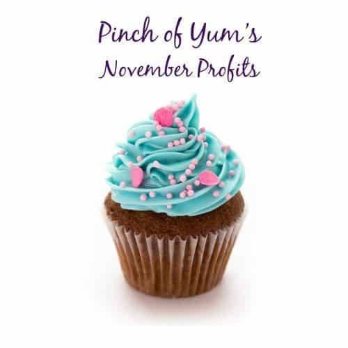 Pinch of Yum's November Profits with a cupcake.