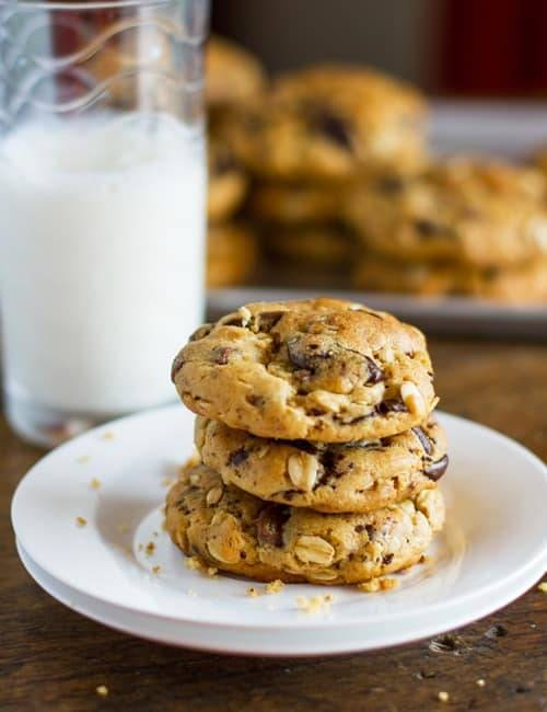 Peanut Butter Oatmeal Chocolate Chip Cookies on a plate