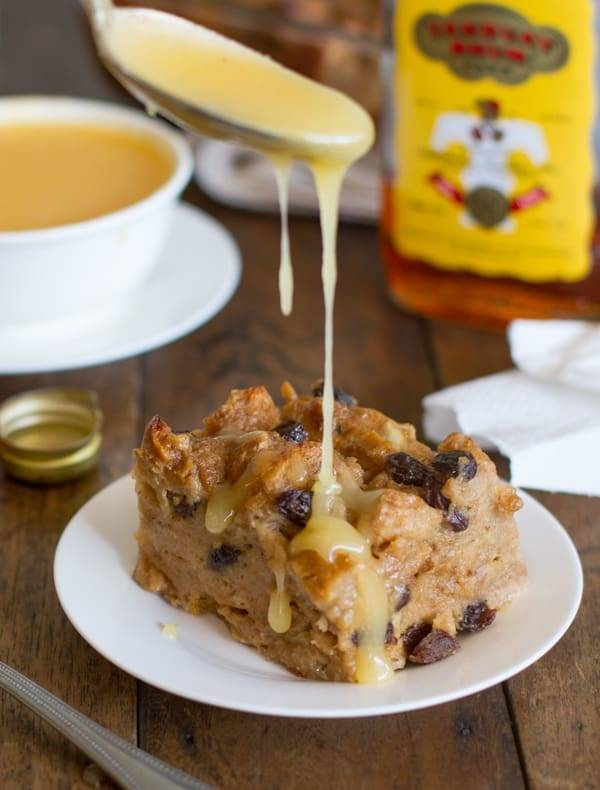 Bread pudding with a drizzle of hot butter rum sauce.