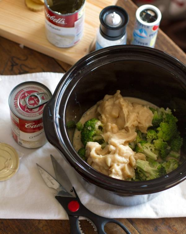 Crockpot Broccoli Cheese Soup in a slow cooker.