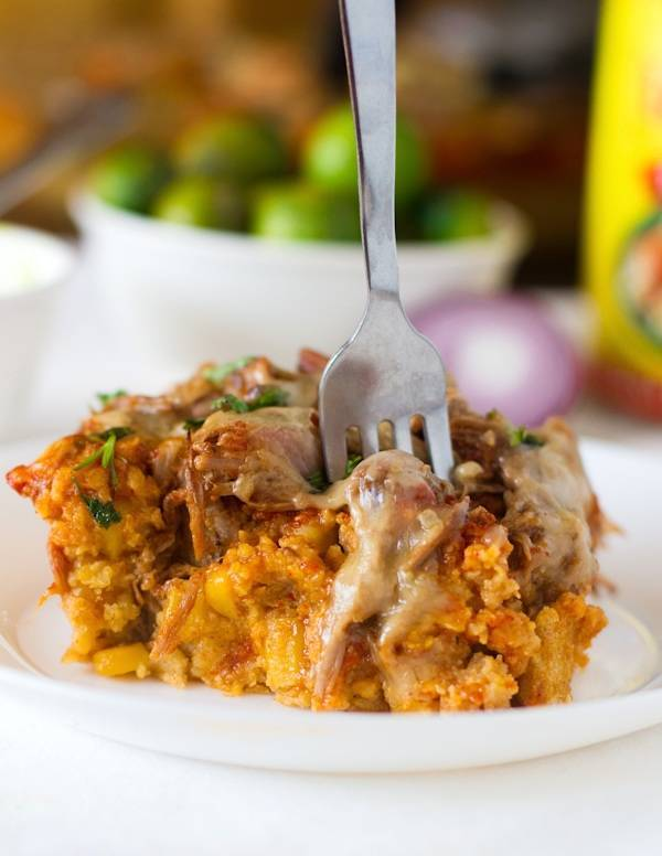 Chicken Tamale Pie on a plate and a fork.