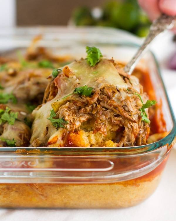 This is a re-make of my most popular recipe, the Chicken Tamale Pie, made with Carnitas instead! Total comfort dinner food! | pinchofyum.com