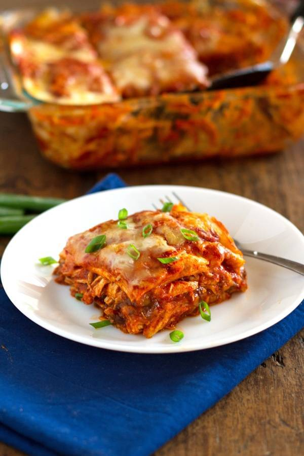 Chicken Enchilada Casserole Recipe Pinch Of Yum