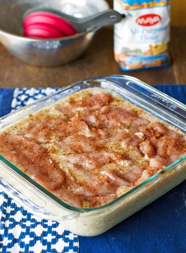Chicken and rice casserole in a baking dish.