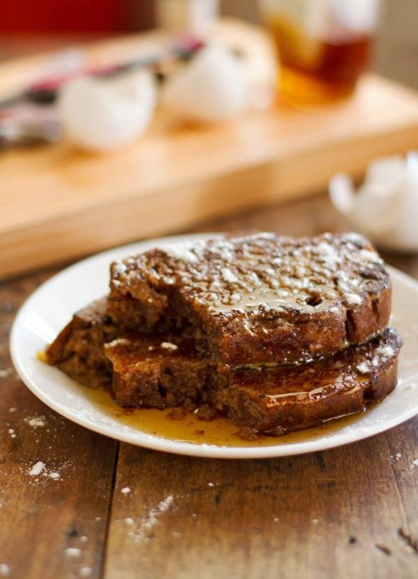 My favorite soft and fluffy gingerbread loaves sliced and grilled into Gingerbread French Toast! Perfect for Christmastime. | pinchofyum.com