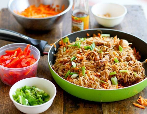 Hoisin pork with rice noodles recipe pinch of yum hoisin pork with rice noodles in a green skillet forumfinder Choice Image