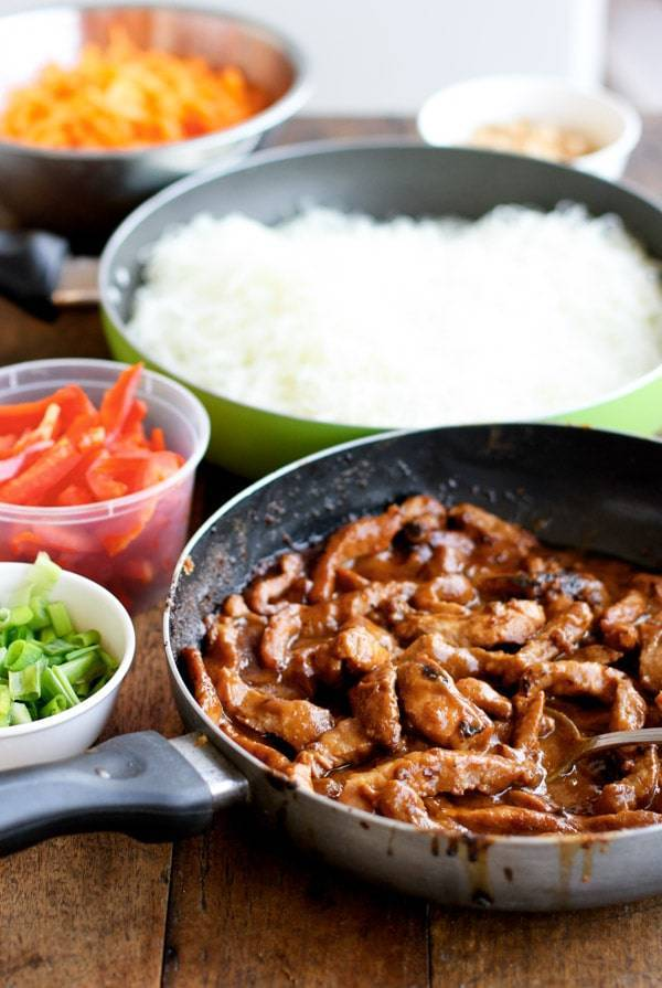 Hoisin pork in a skillet.