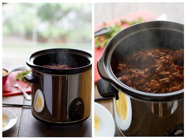 Pork in a crockpot in two images.