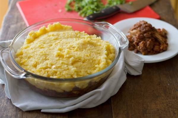 Mexican polenta pie in a clear dish.