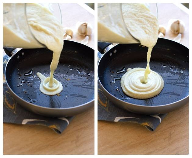 Cauliflower sauce pouring into a skillet in two photos.
