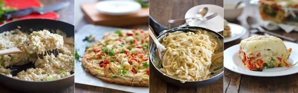 Four images of food.