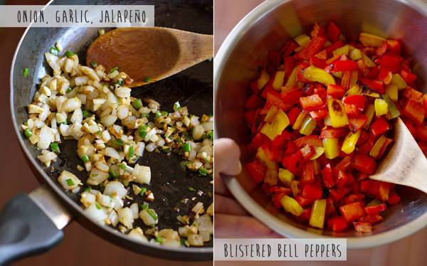 Onion, garlic, and jalapeno in a skillet and bell peppers in a mixing bowl.