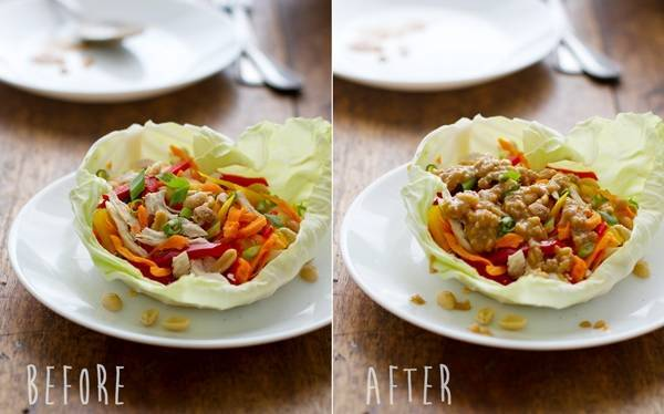Thai chicken lettuce wraps before and after photos.