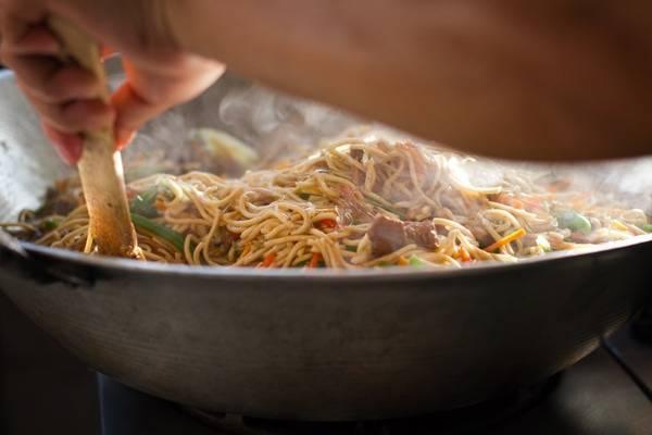 Filipino Pancit in a pan.