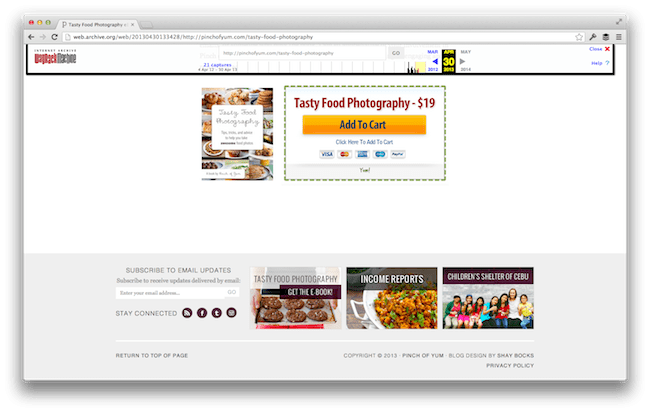 Tasty Food Photography Sales Page - Before