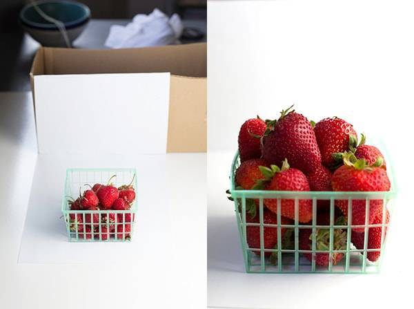 Cardboard shoe box for food photos.