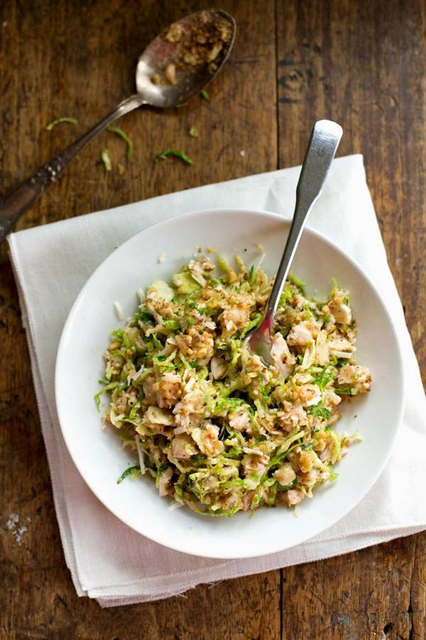 Brussels Sprout Salad in a white bowl.