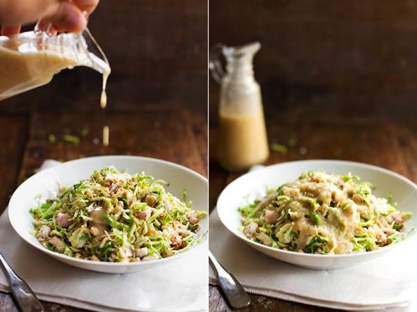 Brussels Sprout Salad in two photos with dressing drizzle.
