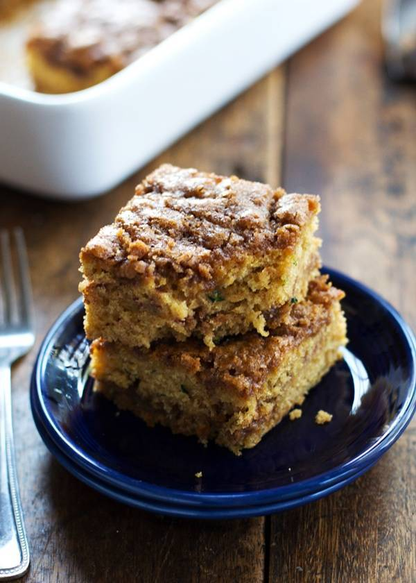 This Cinnamon Sugar Zucchini Coffee Cake is so simple! It takes about 10 minutes to make and has two layers of cinnamon sugar. Mmm. | pinchofyum.com