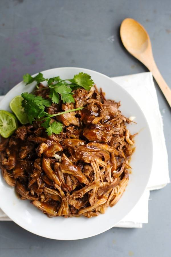 Honey Glazed Crockpot Chicken Adobo - simple pantry ingredients, hardly any hands-on time, 200 calories. | http://pinchofyum.com