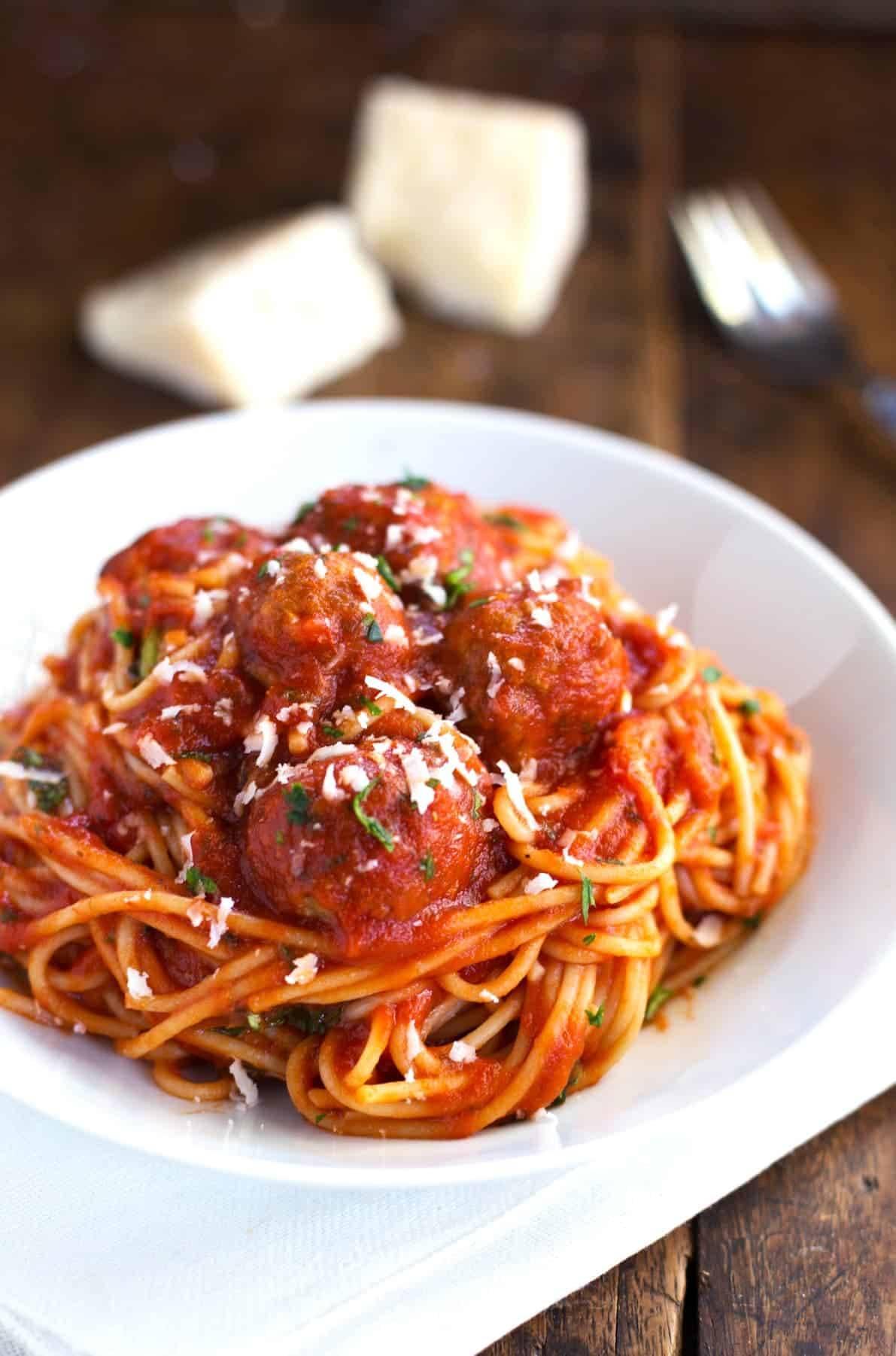 skinny spaghetti and meatballs recipe pinch of yum