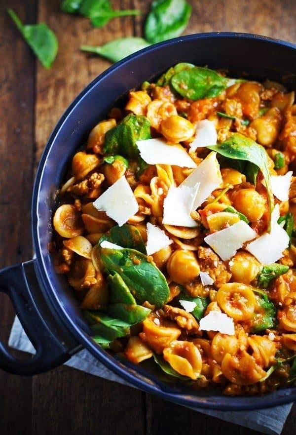 San Marzano Pasta e Fagioli in a blue dish.