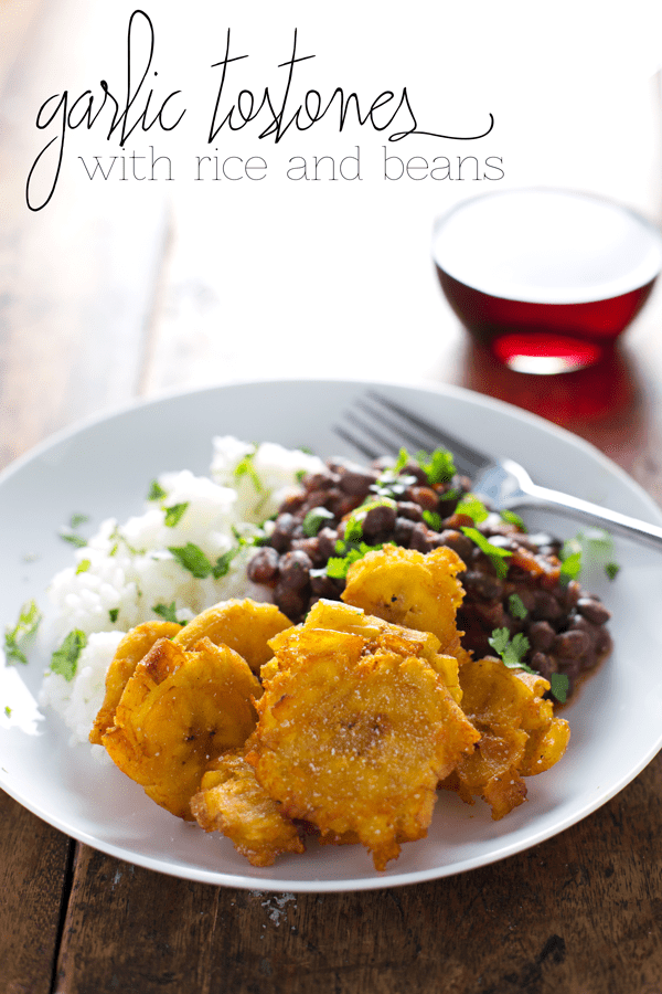 Garlic Tostones Puerto Rican Fried Plantains With Rice And Beans Recipe Pinch Of Yum