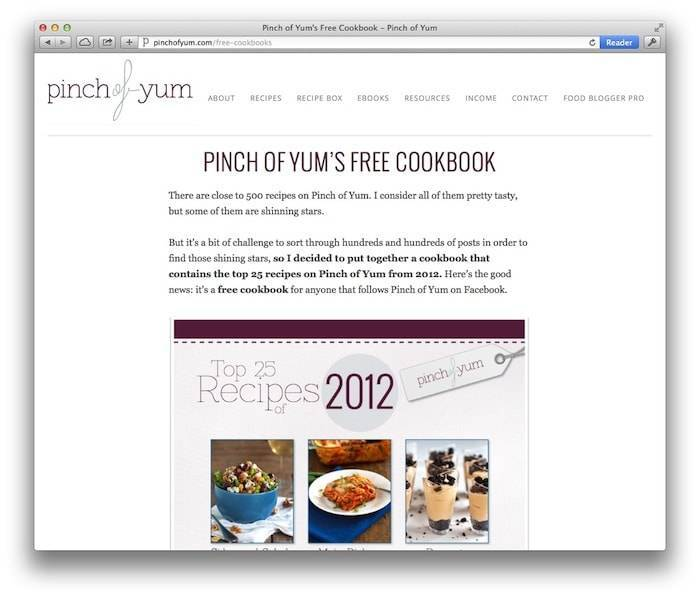 Pinch of Yum's Free Cookbook Landing Page.