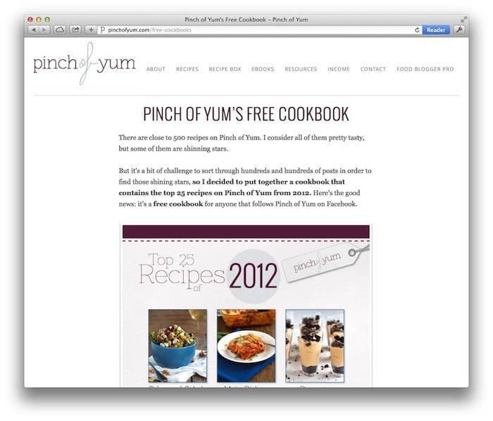 Pinch of Yum's Free Cookbook Landing Page