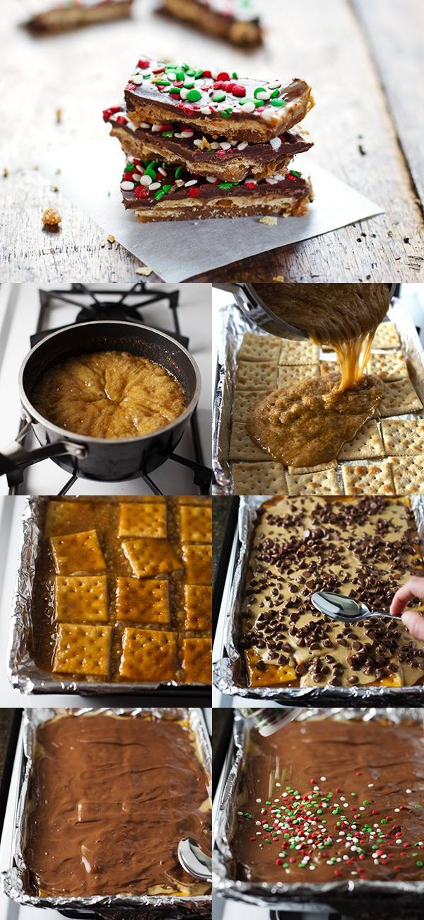 Chocolate Peanut Butter Saltine Toffee making process.