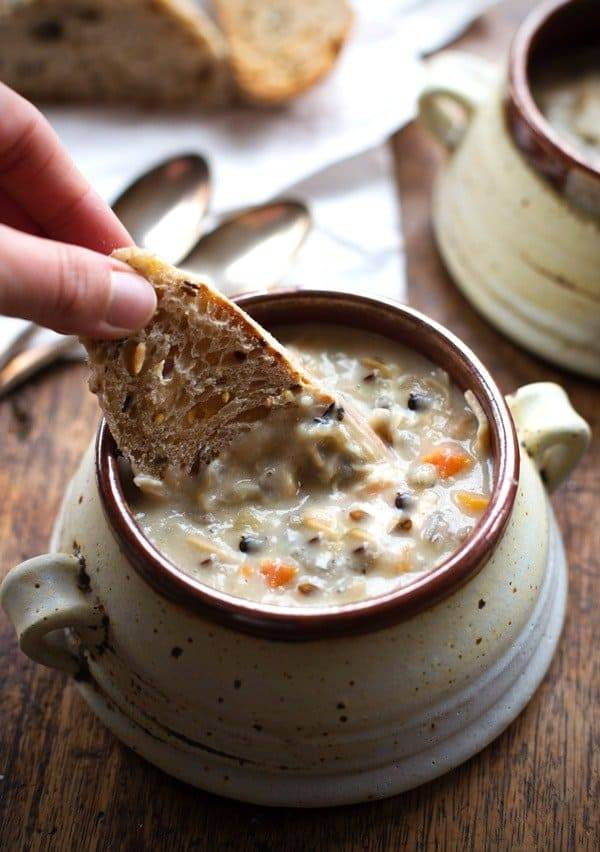 Crockpot Chicken Wild Rice Soup with bread.