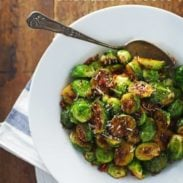 Simple Caramelized Brussels Sprouts - golden brown, just crispy enough, 20 minutes to make. | pinchofyum.com