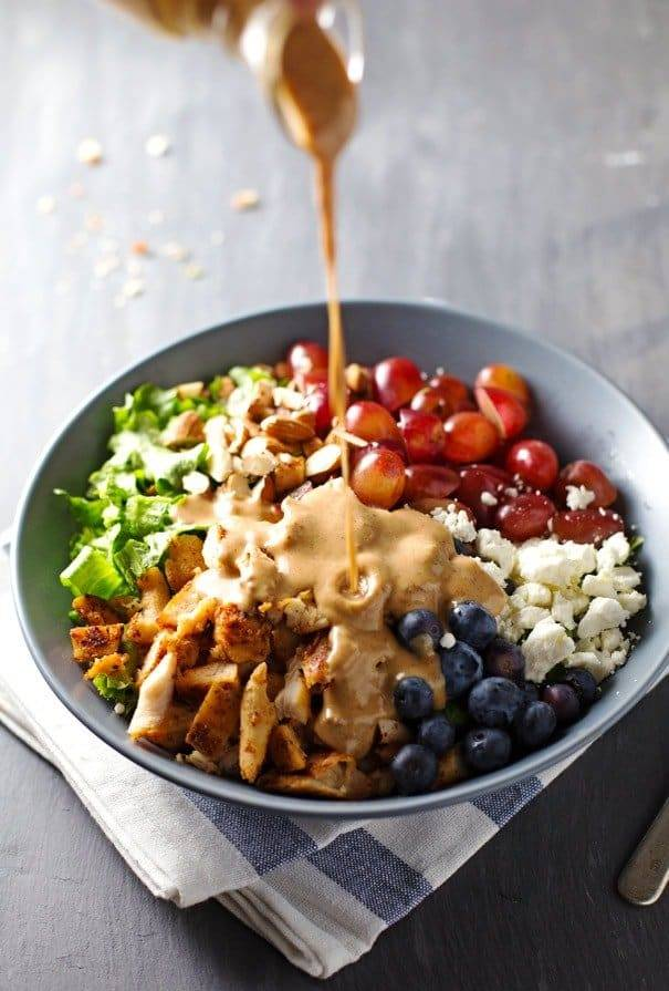 Rainbow Chicken Salad with Almond Honey Mustard Dressing in a bowl.