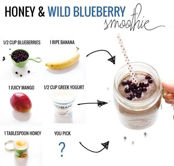 Honey and wild blueberry smoothie recipe pinch of yum for Easy fruit tea recipe