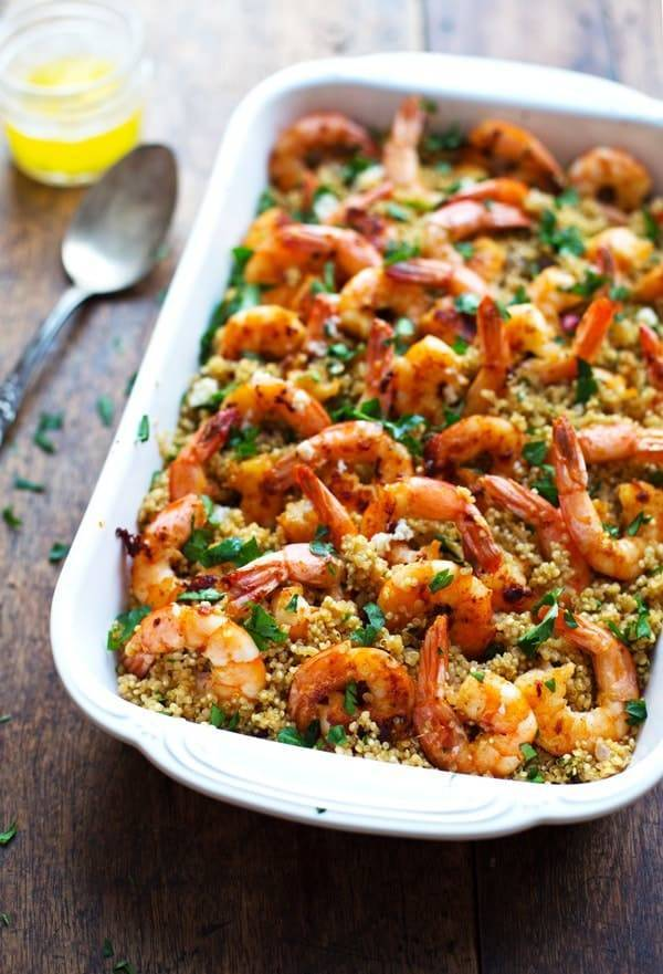 Garlic Butter Shrimp and Quinoa in a white baking dish.