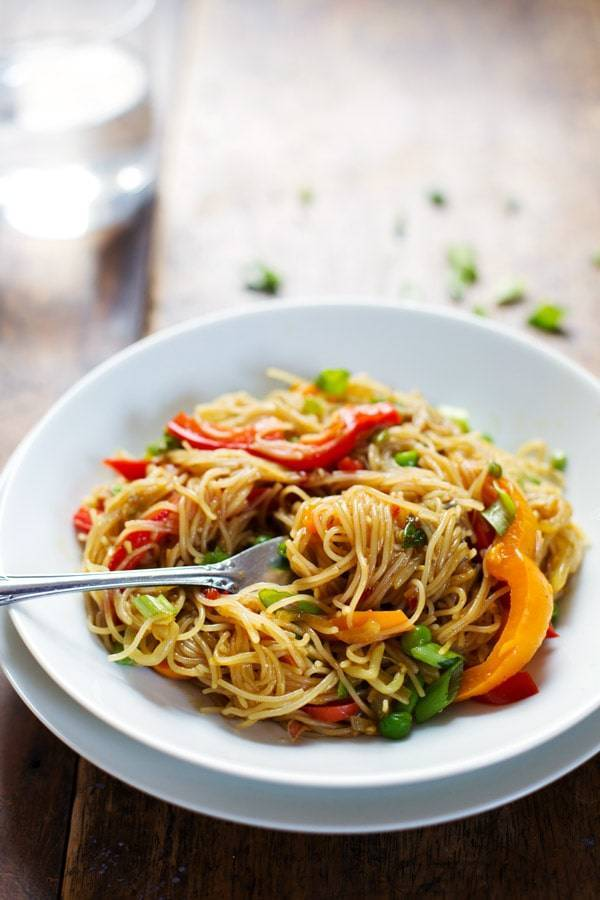 Stir fried noodles on a plate.