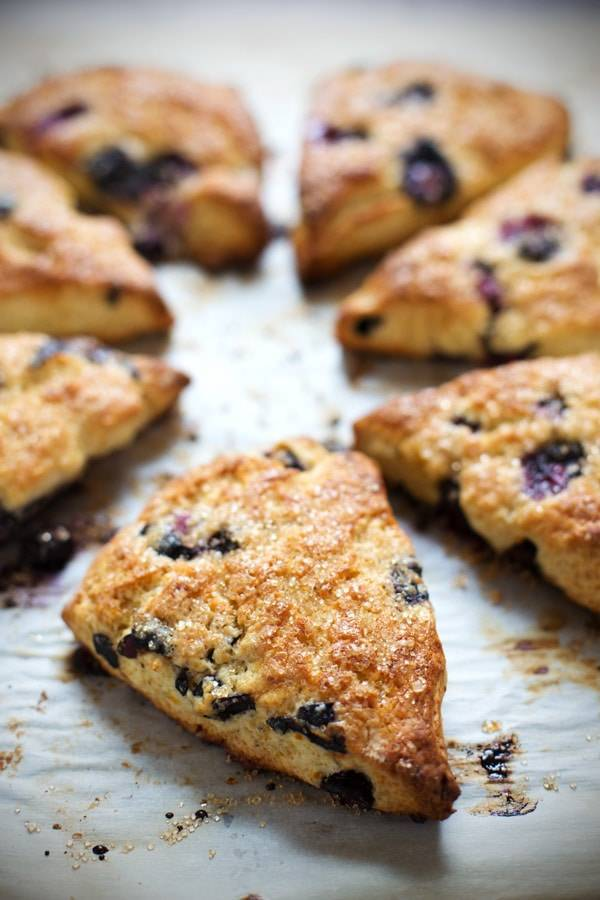 Blueberry Scones on a surface.