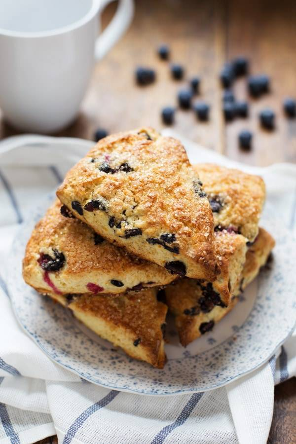 Blueberry Scones stacked on a plate.
