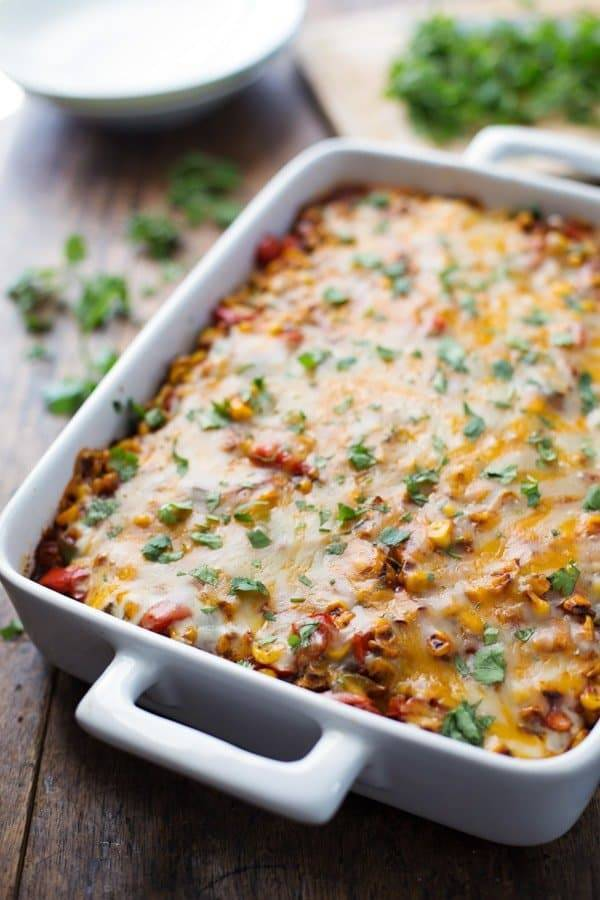 Healthy Mexican Casserole with Roasted Corn and Peppers ...