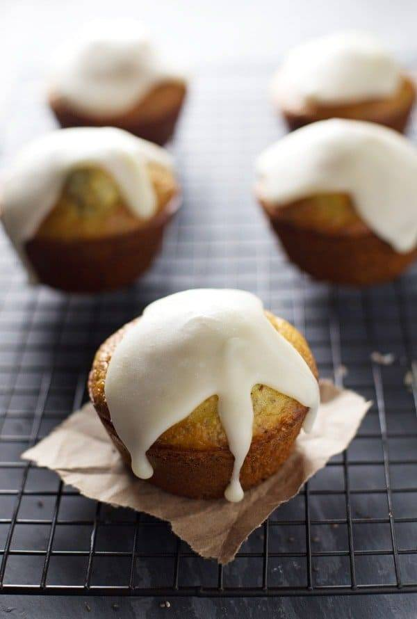 Lemon Muffins with Chia Seeds and Honey Glaze.