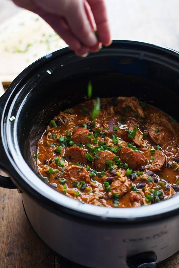 Creole Chicken and Sausage in a slowcooker.