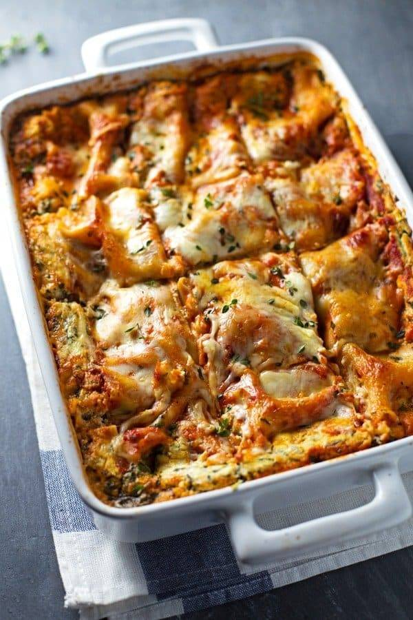 Skinny Spinach Lasagna Recipe Pinch Of Yum