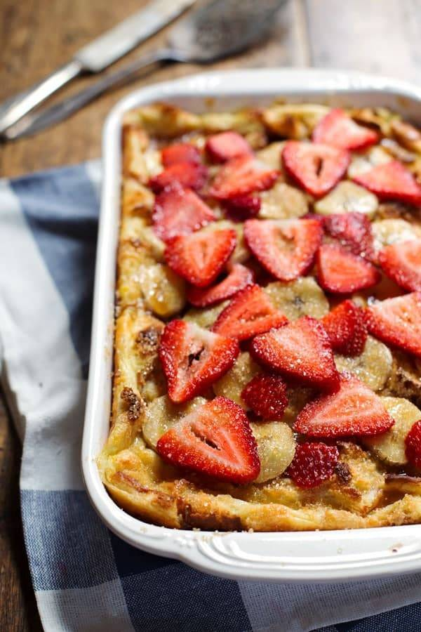 Coconut French Toast Bake with strawberries and bananas.