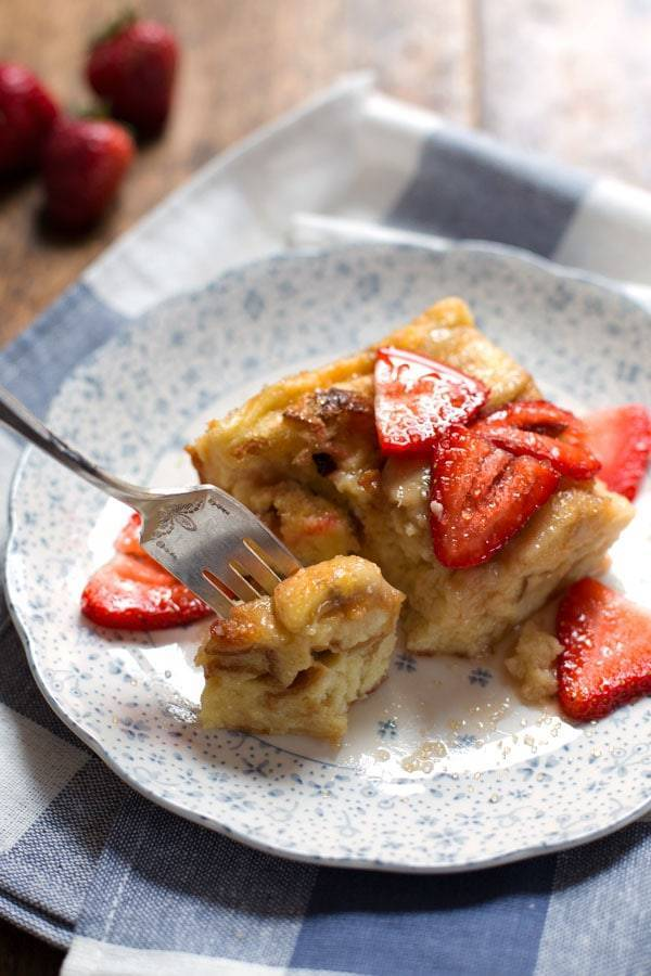 This Super Easy Coconut French Toast Bake can be made with just five ingredients! A colorful, pretty, simple brunch dish. | pinchofyum.com