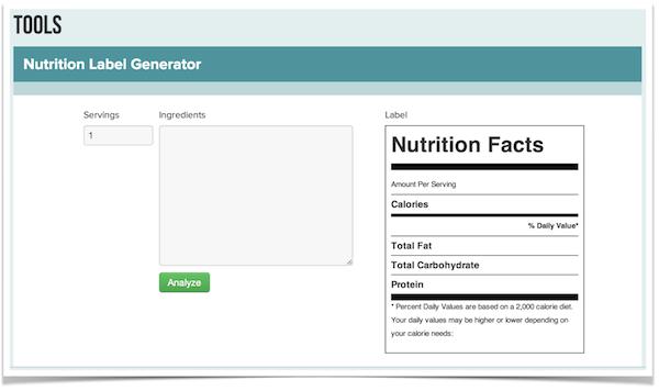 Nutrition Label Generator
