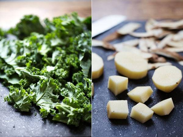 Kale and potatoes.