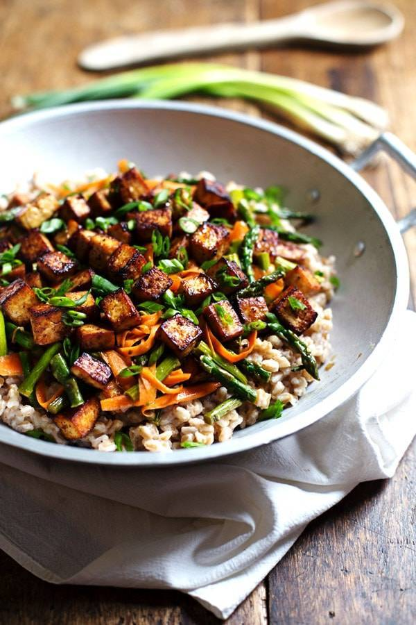Honey ginger tofu and veggie stir fry recipe pinch of yum this honey ginger tofu and veggie stir fry is so delicious served with a simple click here to pin this recipe forumfinder Choice Image