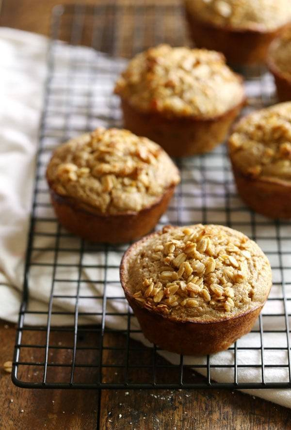 Caramelized Banana Oat Muffins: love these! a healthy, flavorful muffin with whole grains and no refined sugar. 280 calories. | pinchofyum.com
